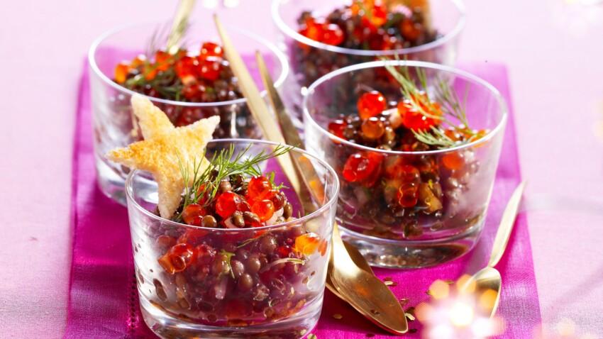 Salade de lentilles aux œufs de saumon