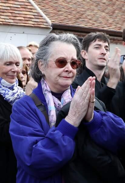 Dominique Lavanant lors des obsèques de Danielle Darrieux à l'église de Saint-Jean Baptiste de Bois-le-Roi dans l'Eure, le 25 octobre 2017