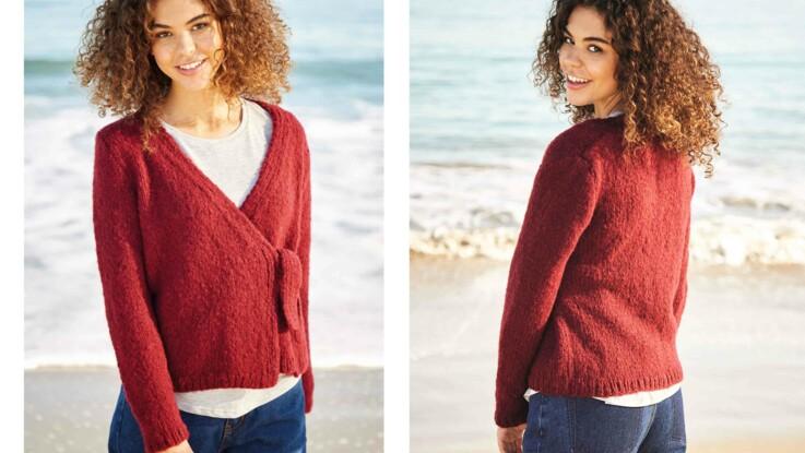 Tricot gratuit : le cache-cœur noué devant au point jersey