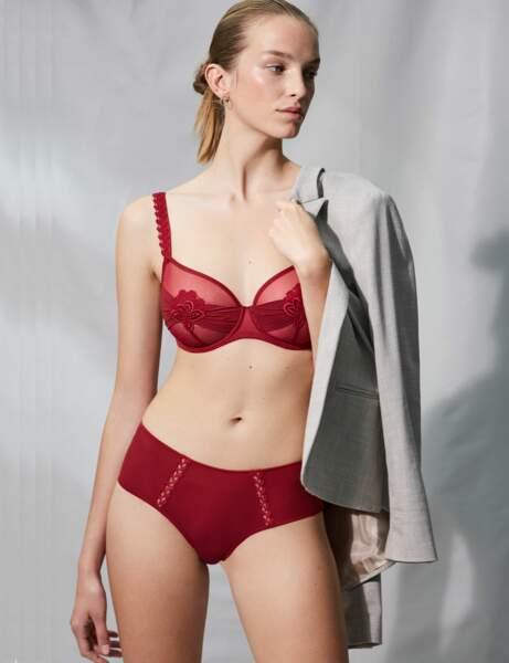 Lingerie spéciale Saint-Valentin : l'ensemble rouge glamour