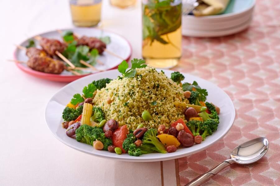 Couscous vert aux fèves et pois chiches