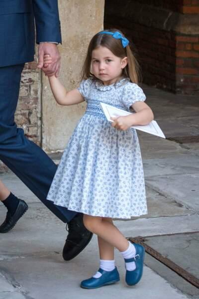 La princesse Charlotte au baptême de de son frère Louis, à la Chapelle Royale de Saint James Palace, à Londres, le 9 juillet 2018.