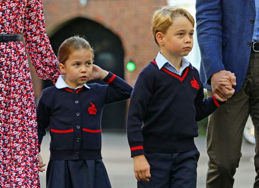 La princesse Charlotte arrive pour son premier jour d'école le 5 septembre 2019, à Londres.