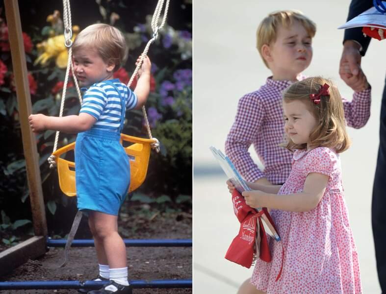Le prince William et la princesse Charlotte, même petite mine boudeuse.