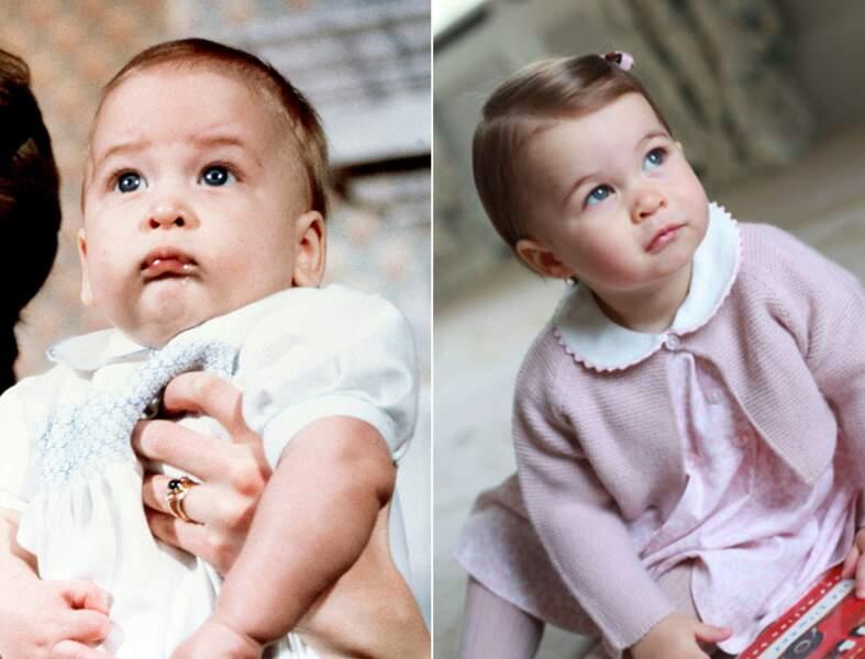 Le prince William à 6 mois, et la princesse Charlotte à 1 an. Même petite moue.