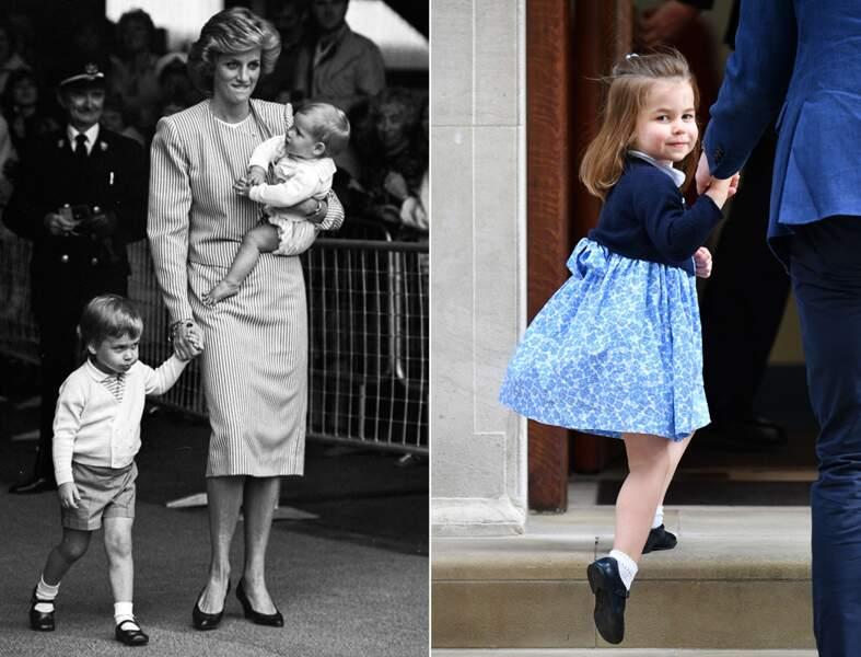 Le prince William et la princesse Charlotte, autour de trois ans.