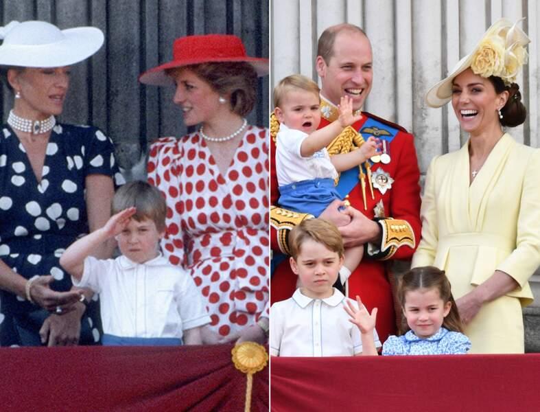 Le prince William et la princesse Charlotte, tous les deux à 4 ans, saluant la foule du balcon de Buckingham Palace.
