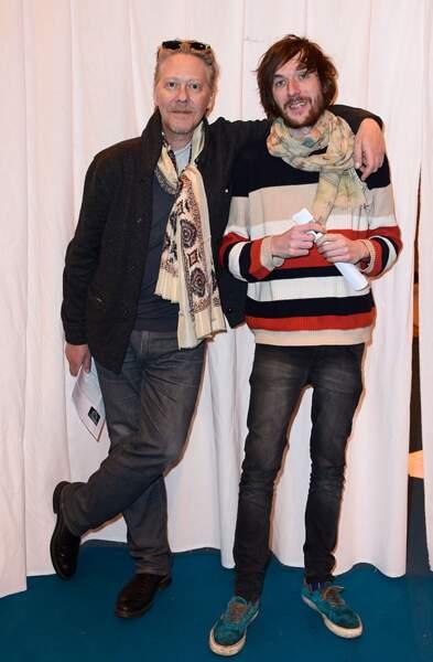 Sébastien Demorand et Romain Tischenko au Salon du Livre 2015 à la Porte de Versailles le 20 mars 2015.