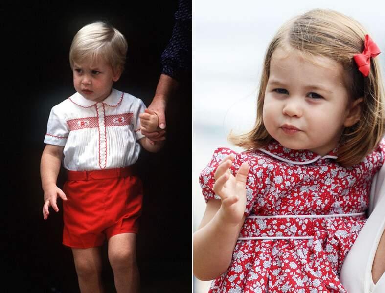 Le prince William et la princesse Charlotte autour de deux ans.