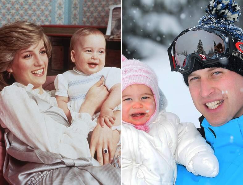 Le prince William à 8 mois, et la princesse Charlotte à 9 mois. Un sourire identique.