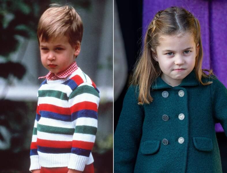 Le prince William et la princesse Charlotte avec la même petite bouille et le regard déterminé.