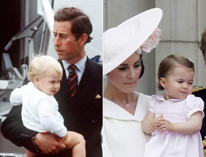 Le prince William et la princesse Charlotte dans les bras de leur parent respectif.