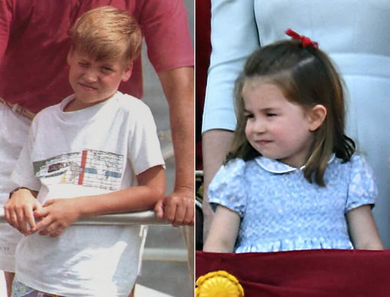Le prince William et la princesse Charlotte, même expression lors d'un petit moment d'ennui.