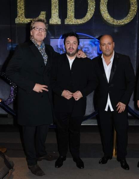 Frederic Anton, Yves Camdeborde et Sébastien Demorand à la soirée du Nouvel An présentée par Arthur au Lido en décembre 2011.