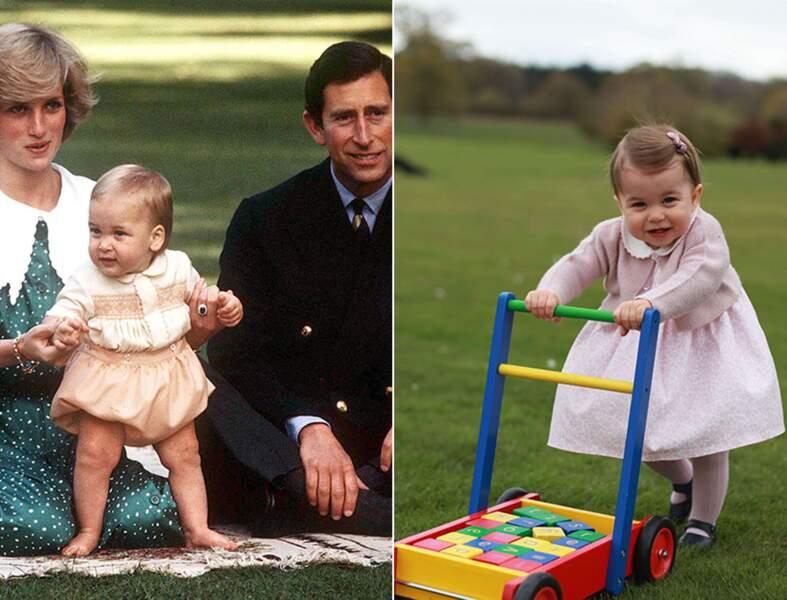 Le prince William à 2 ans et la princesse Charlotte à 1 an.