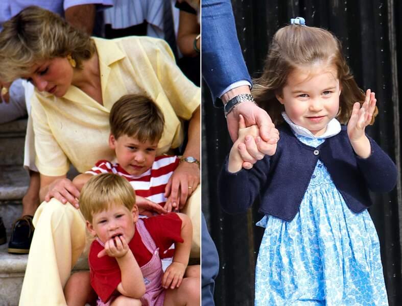 Le prince William, à 5 ans, et la princesse Charlotte à 3 ans.