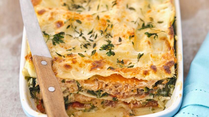 Lasagnes au thon et aux épinards