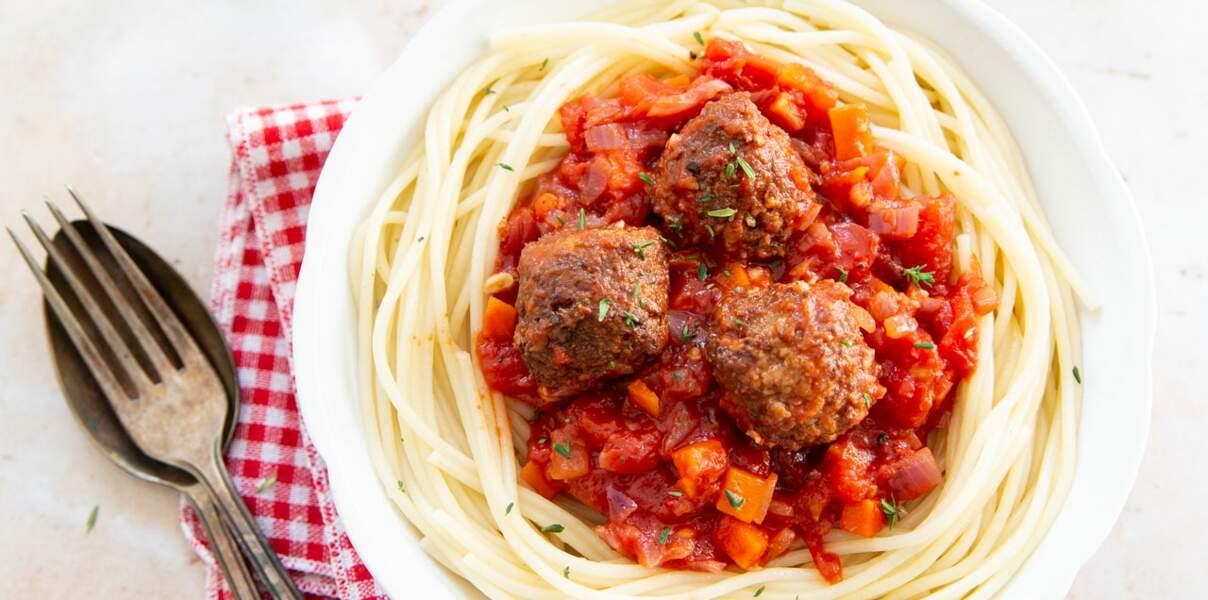 Spaghetti sauce tomate & boulettes vegan