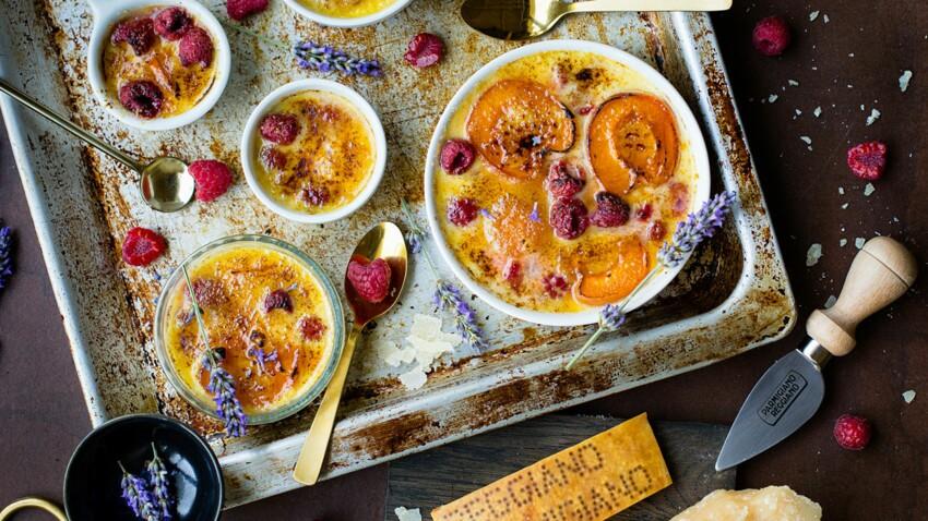 Crème brûlée, abricots, framboises et Parmigiano Reggiano