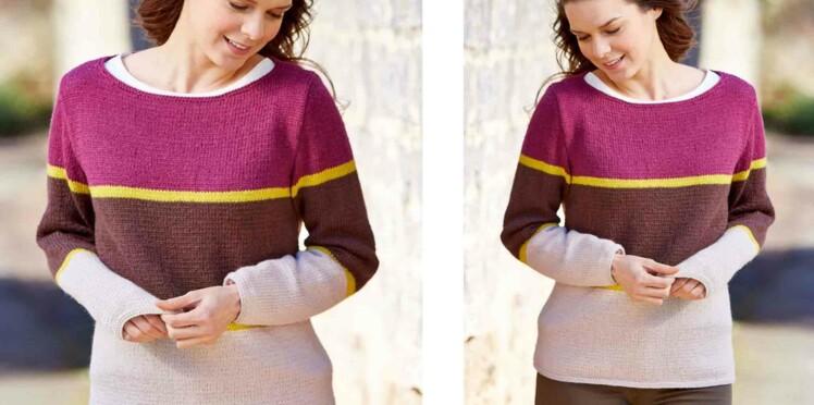 Tricot gratuit : le pull jersey en rayures larges