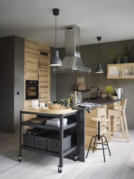 Cuisine en bois naturel IKEA