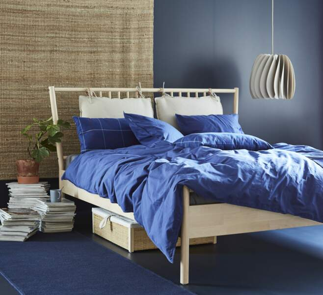 Chambre bleue et rotin IKEA