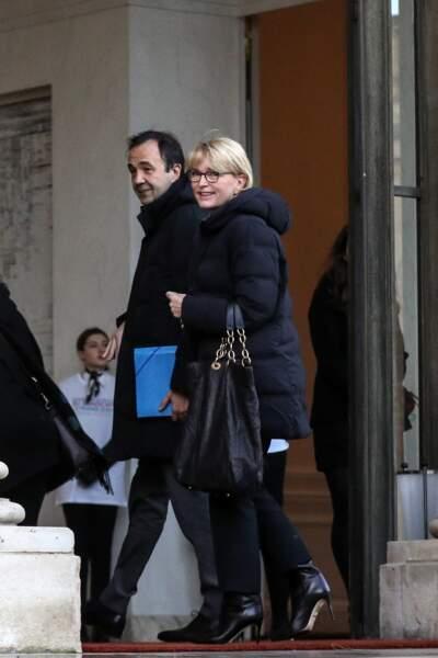 Claude Chirac et son mari Frédéric Salat-Baroux arrivent à la conférence national du handicap au palais de l'Elysée à Paris.
