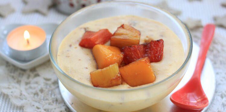 Mousse de chocolat blanc craquante et fruits exotiques poêlés