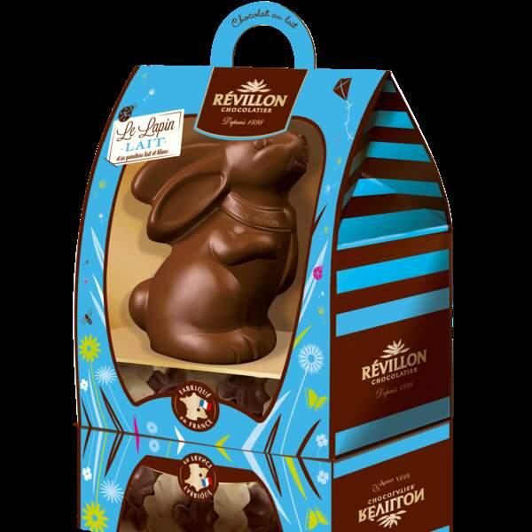 Lapin au chocolat au lait et ses petits lapins lait et blanc - Révillon chocolatier