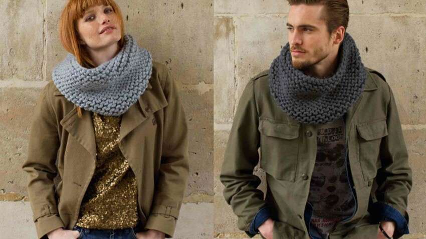 Tricot gratuit : le snood mixte au point mousse