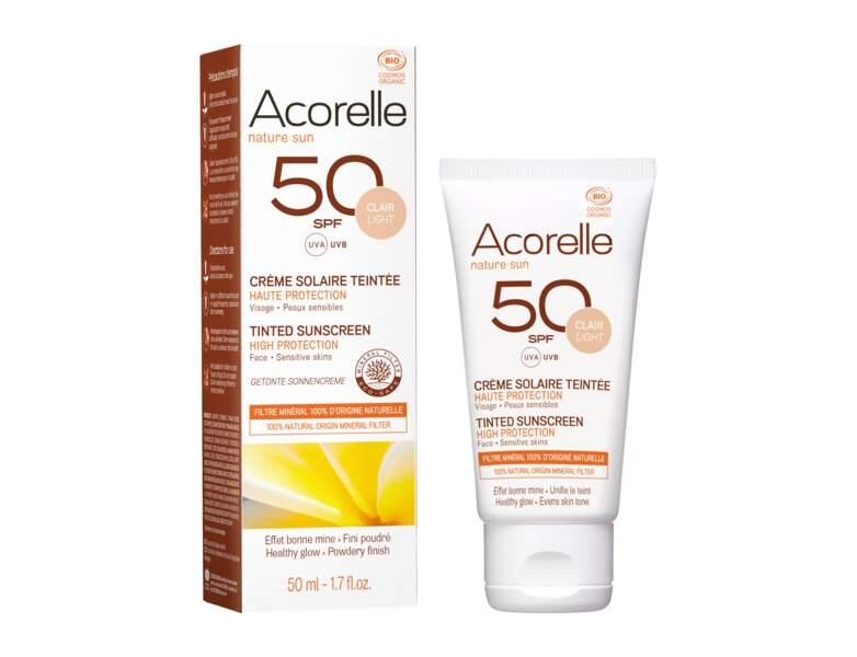Crème solaire : la crème solaire teintée bio par Acorelle