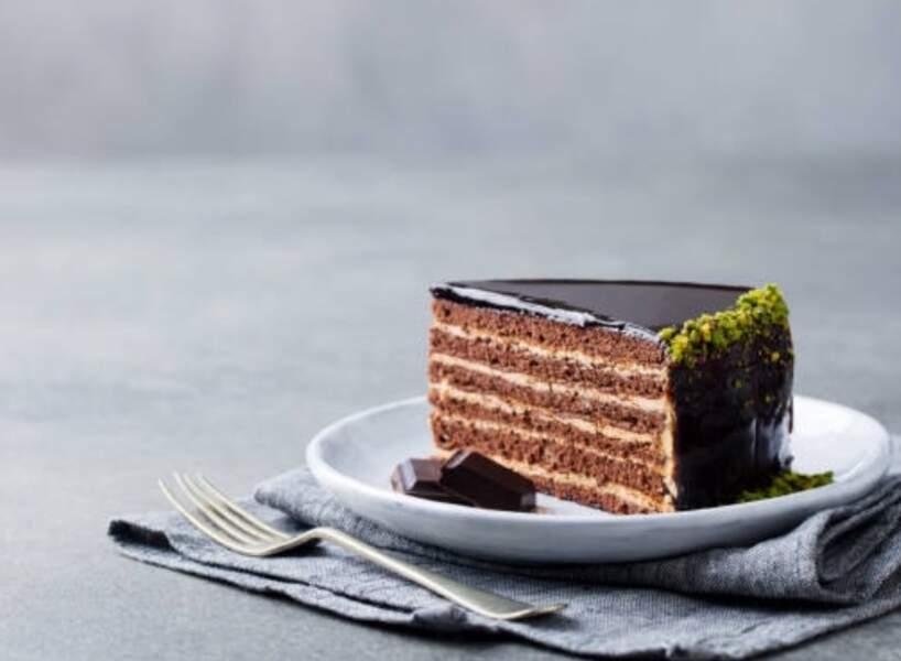 Layer cake au chocolat et pistache sans cuisson
