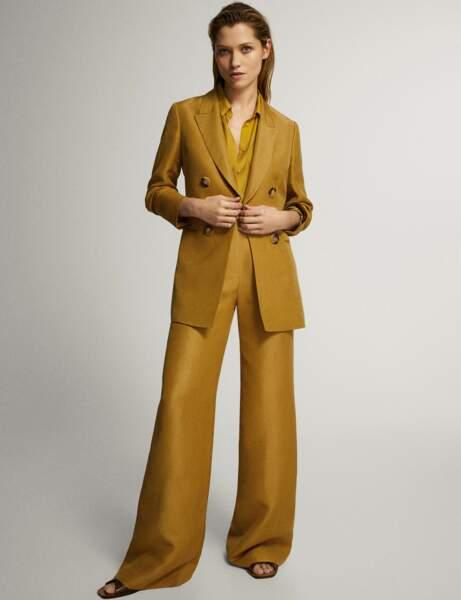 Tailleur pantalon colorblock : moutarde