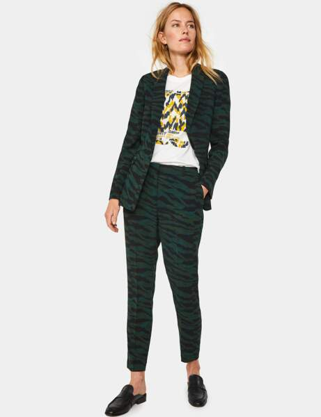 Tailleur pantalon colorblock : zébré