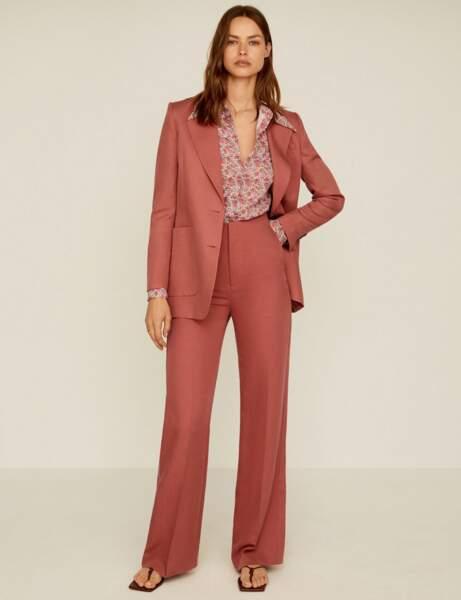 Tailleur pantalon colorblock : pamplemousse