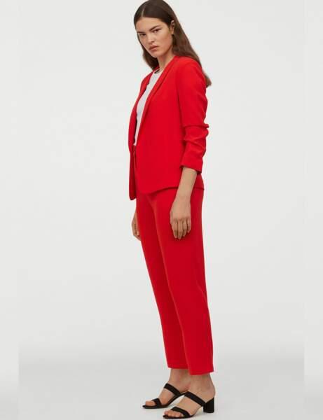 Tailleur pantalon colorblock : rouge