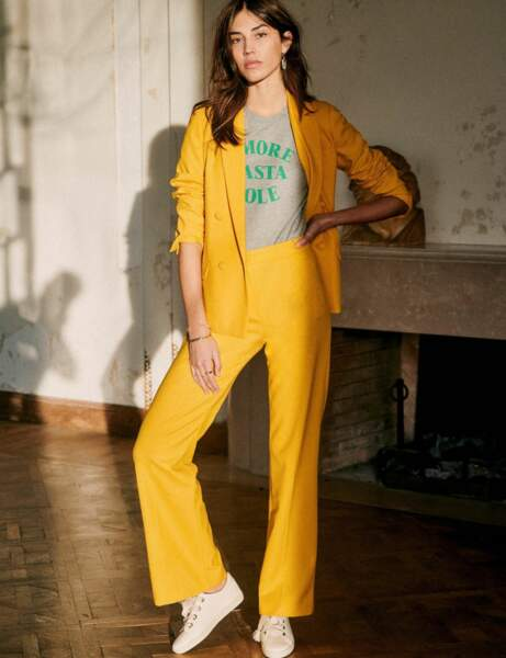 Tailleur pantalon colorblock : jaune