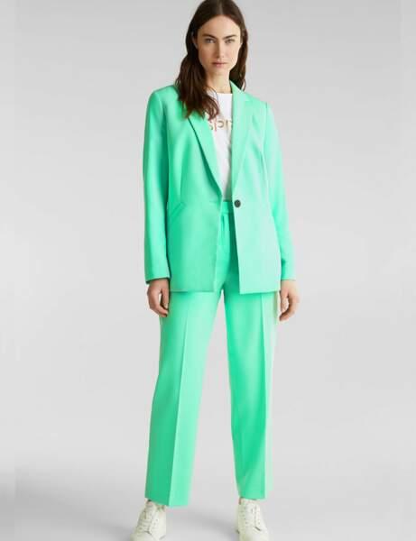 Tailleur pantalon colorblock : acidulé