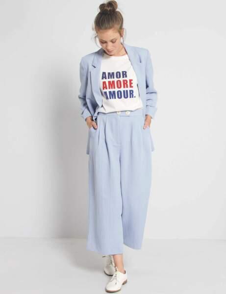 Tailleur pantalon colorblock : azur