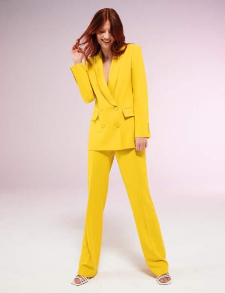 Tailleur pantalon colorblock : fluo