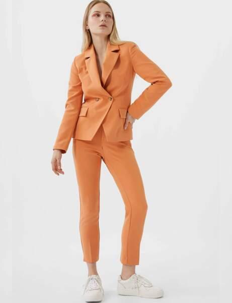 Tailleur pantalon colorblock : orangé