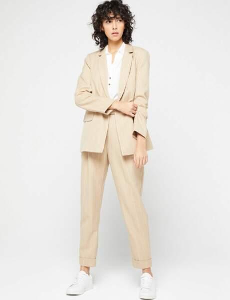 Tailleur pantalon colorblock : rayé