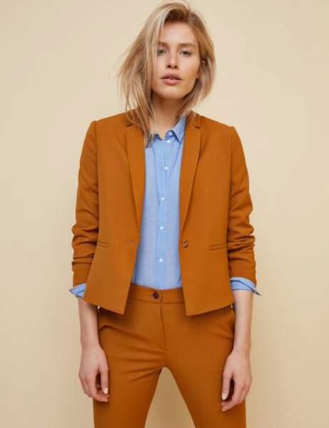Tailleur pantalon colorblock : safran