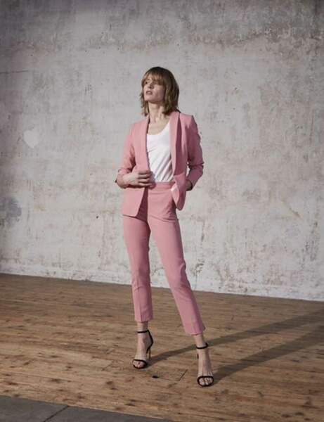 Tailleur pantalon colorblock : poudré