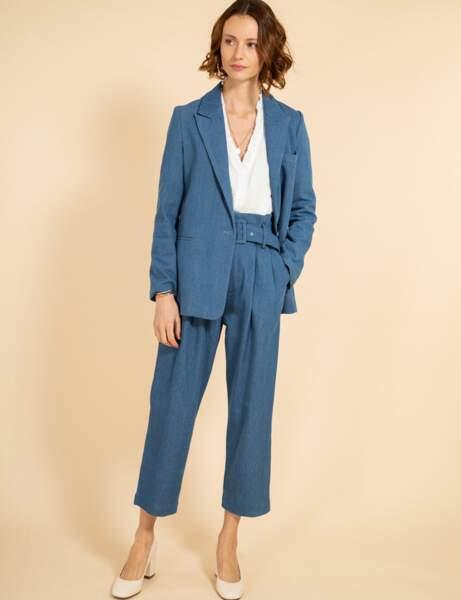 Tailleur pantalon colorblock : denim