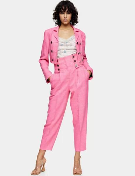 Tailleur pantalon colorblock : rose Barbie