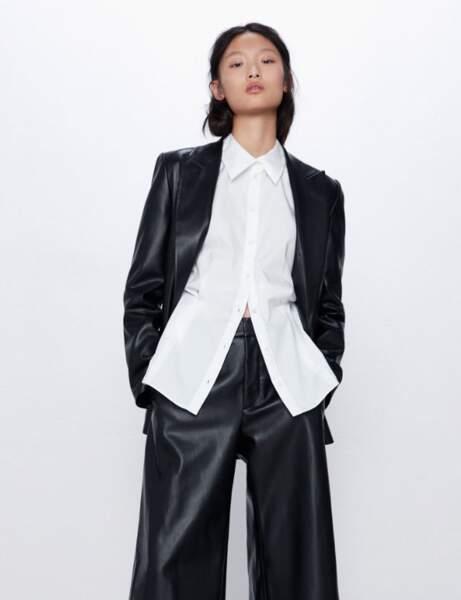 Blazer tendance : la veste effet cuir noire