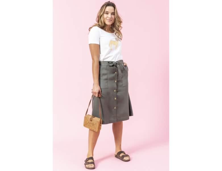 Mode ronde : la jupe boutonnée