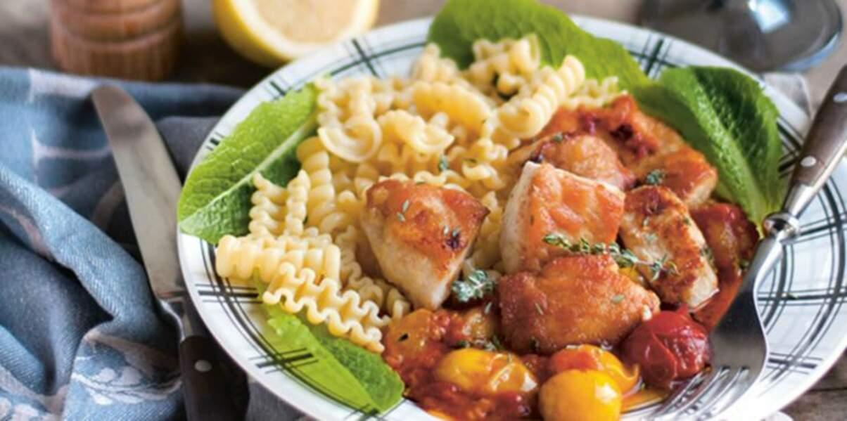 Escalopes de poulet au citron et tomates cerise