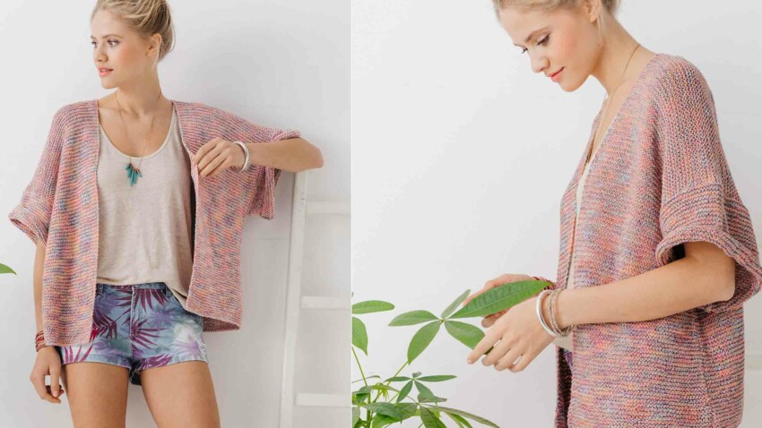 Tricot gratuit : la veste en fil multicolore